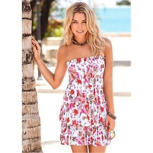 VENUS White/Pink Floral Tiered-Ruffle Dress, S